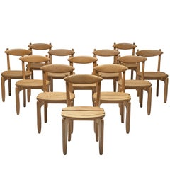 Guillerme & Chambron Set of Twelve Dining Chairs in Solid Oak
