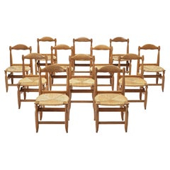 Guillerme & Chambron Set of Twelve Dining Chairs Model 'Charlotte'