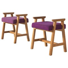 Guillerme and Chambron Set of Two Oak and Fabric Stools