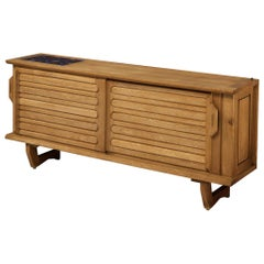 Guillerme & Chambron Sideboard in Oak and Ceramic Tiles
