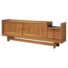 Guillerme & Chambron Sideboard in Oak with Ceramics