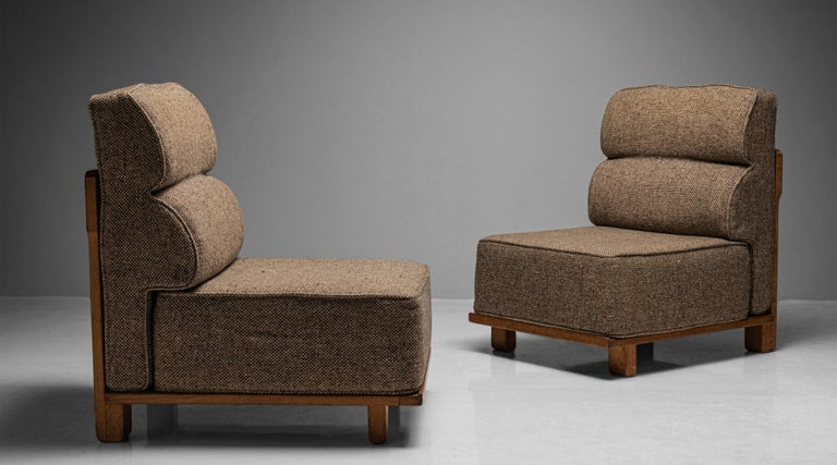 Guillerme & Chambron slipper chairs, France circa 1960