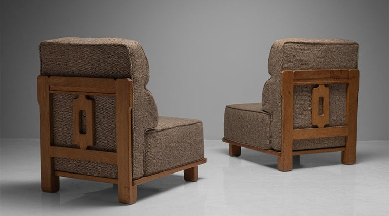 Modern Guillerme & Chambron Slipper Chairs, France circa 1960 For Sale