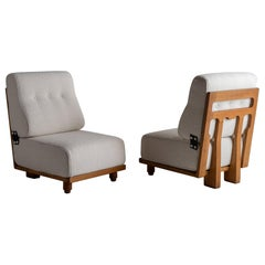 Guillerme & Chambron Slipper Chairs in Belgian Textured Wool Blend