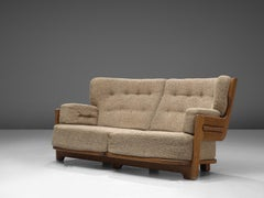 Guillerme & Chambron Sofa in Oak and Fabric