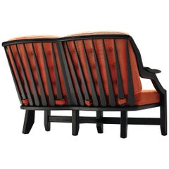 Guillerme & Chambron Sofa with Orange Upholstery
