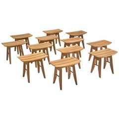 Guillerme & Chambron Stools in Oak