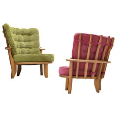 Guillerme & Chambron 'Tricoteuse' Lounge Chairs in Oak and Structured Upholstery