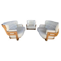Guillerme & Chambron, Votre Maison, Sofas & Lounge Chair, Fabric and Oak, 1960s