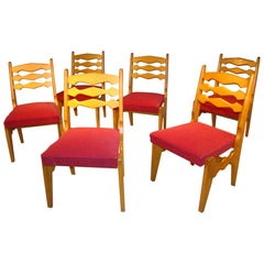 "Guillerme et Chambron, 18 Chairs in Oak, Edition ""Votre Maison"", circa 1960"