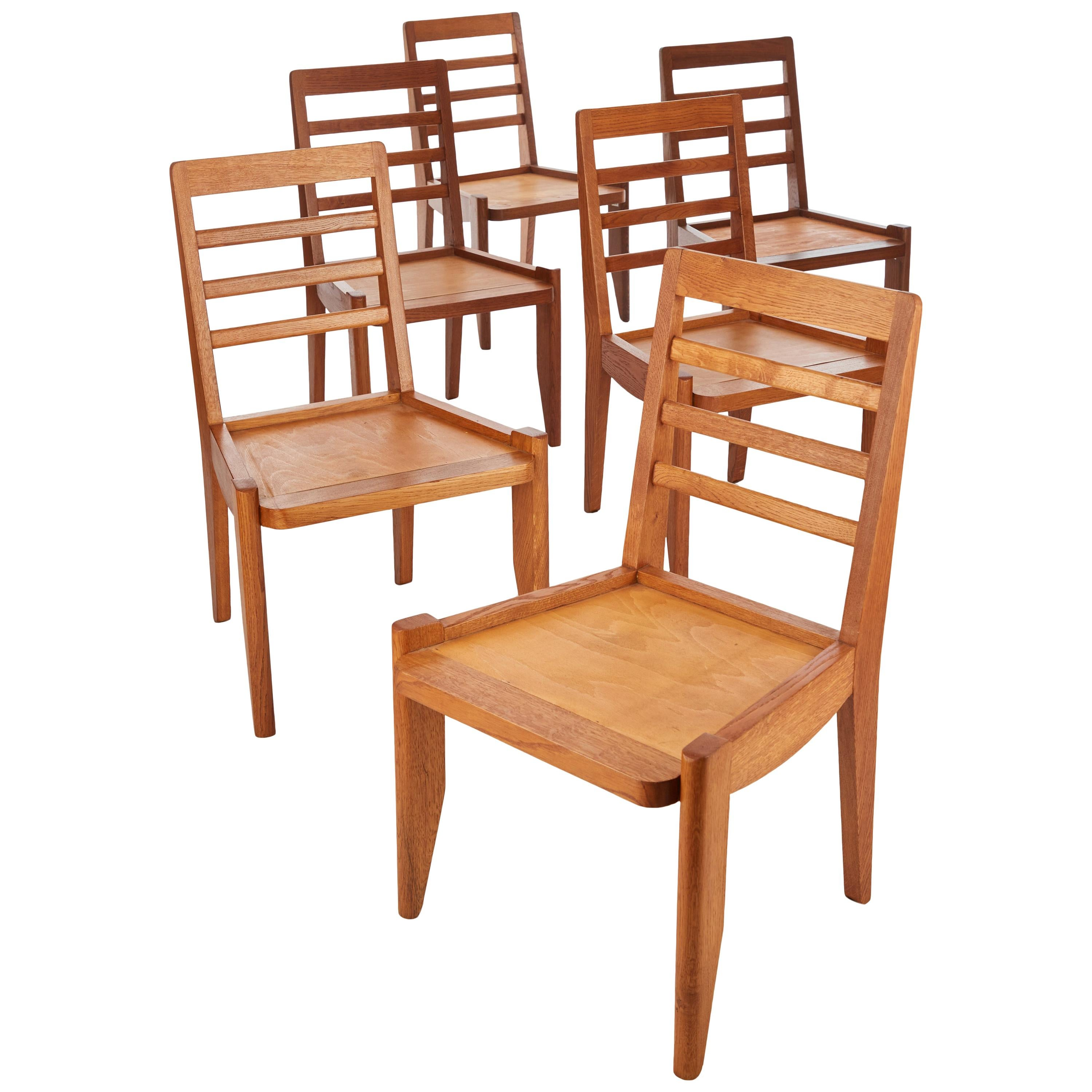 Guillerme et Chambron, 6 Polished Oak Dining Chairs, France, Mid-20th Century
