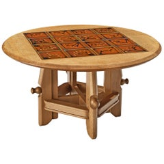 Guillerme et Chambron Adjustable Side Table with Ceramic Tiles