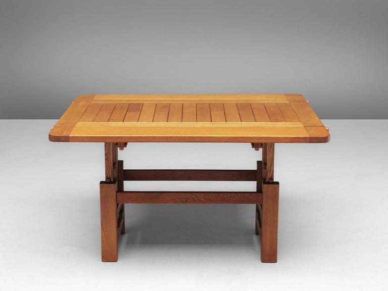 Mid-Century Modern Guillerme et Chambron Adjustable Table in Oak For Sale