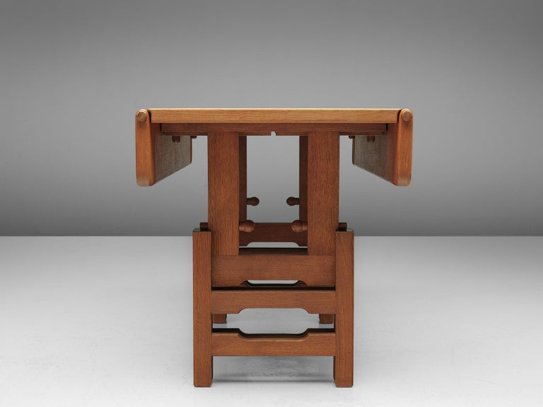 French Guillerme et Chambron Adjustable Table in Oak For Sale