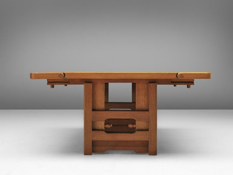 Guillerme et Chambron Adjustable Table in Oak In Good Condition For Sale In Waalwijk, NL