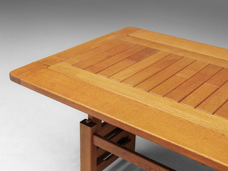 Mid-20th Century Guillerme et Chambron Adjustable Table in Oak For Sale