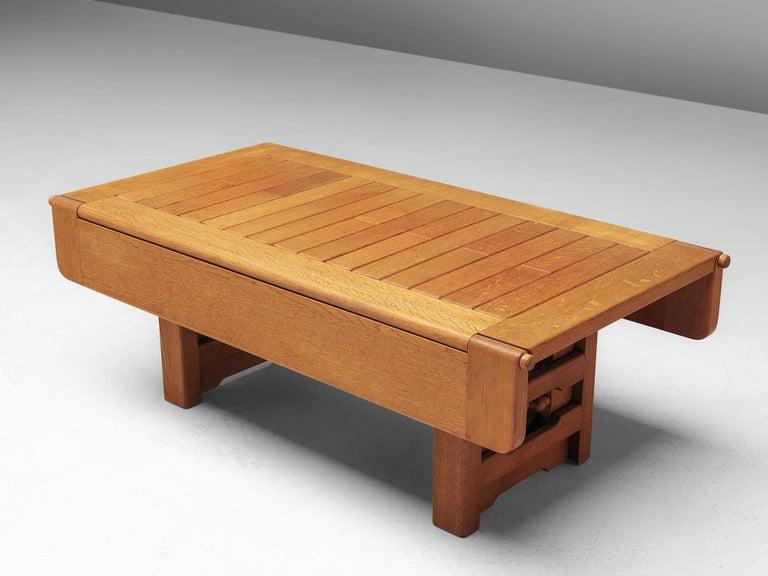 Guillerme et Chambron Adjustable Table in Oak For Sale 2