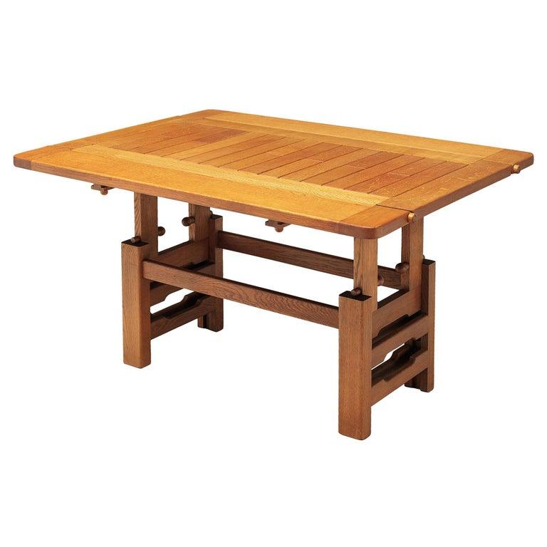 Guillerme et Chambron Adjustable Table in Oak For Sale
