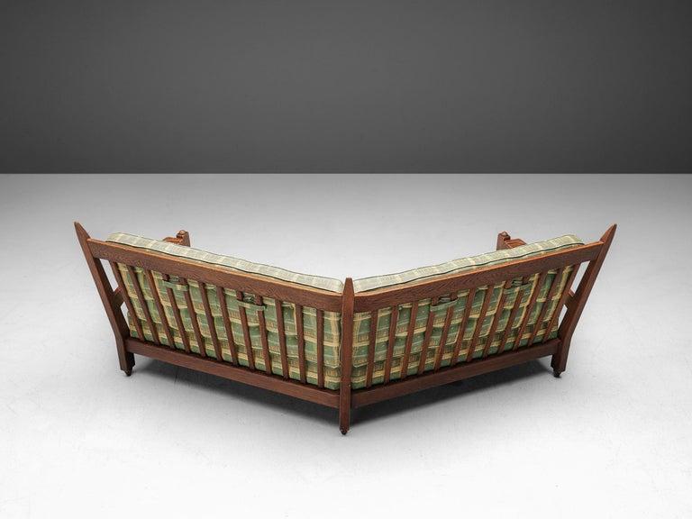 Mid-Century Modern Guillerme et Chambron Angular Sofa in Oak For Sale