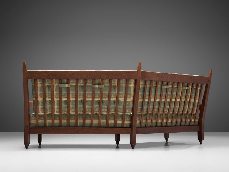 French Guillerme et Chambron Angular Sofa in Oak For Sale