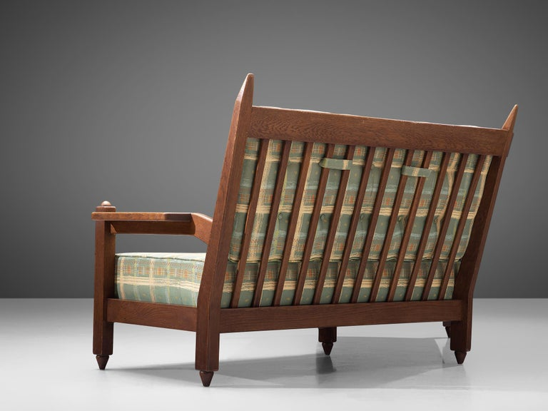Mid-20th Century Guillerme et Chambron Angular Sofa in Oak For Sale