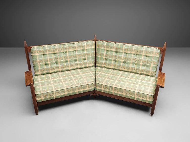 Guillerme et Chambron Angular Sofa in Oak For Sale 1