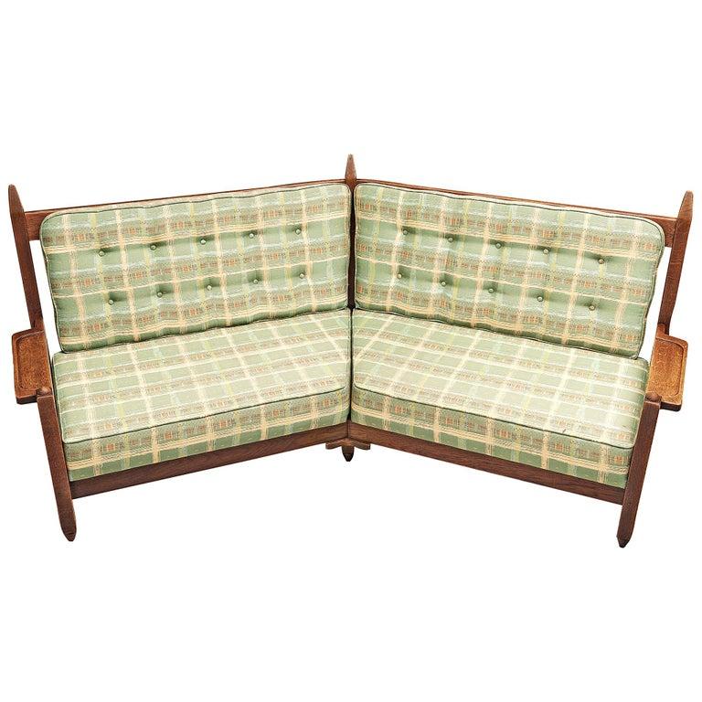 Guillerme et Chambron Angular Sofa in Oak For Sale