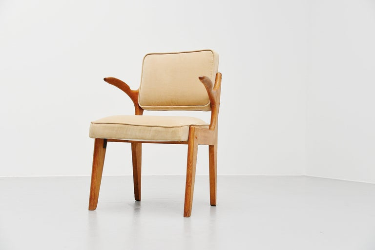 Sculptural armchair designed by designer duo Robert Guillerme and Jacques Chambron, France, 1950. The pieces were made in their own workshop and they made furniture from the 1950s-1970s. Mainly in solid oak and differently upholstery. They made