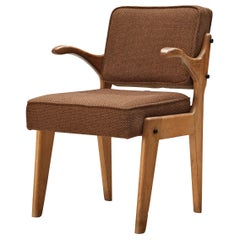 Guillerme et Chambron Armchair in Solid Oak and Brown Upholstery