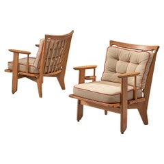 Guillerme et Chambron Armchairs in Solid Oak