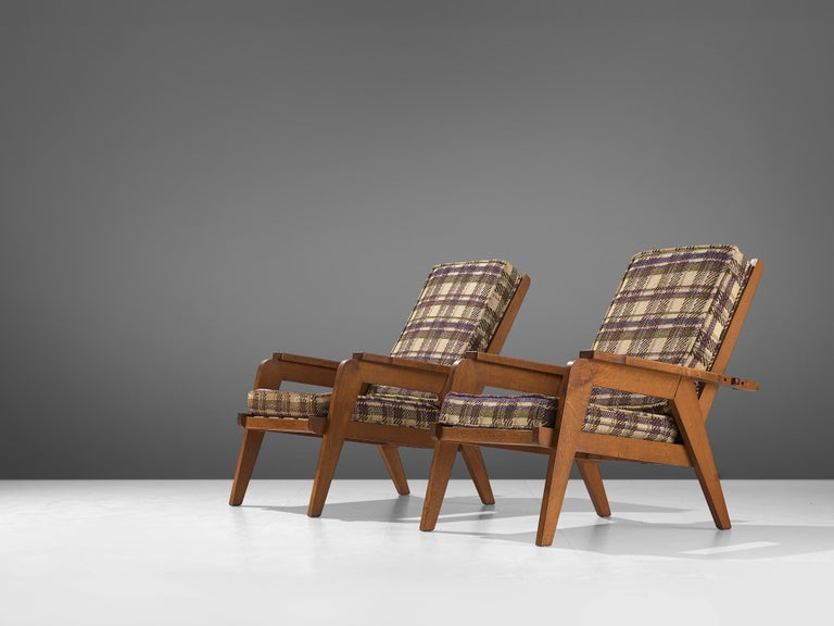 Mid-Century Modern Guillerme et Chambron Armchairs with Adjustable Backrests For Sale