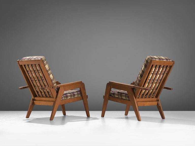 French Guillerme et Chambron Armchairs with Adjustable Backrests For Sale