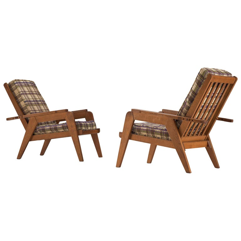 Guillerme et Chambron Armchairs with Adjustable Backrests For Sale