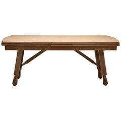 "Guillerme et Chambron Brutalist Table ""Petronile"" in Carved Oak, France, 1960s"