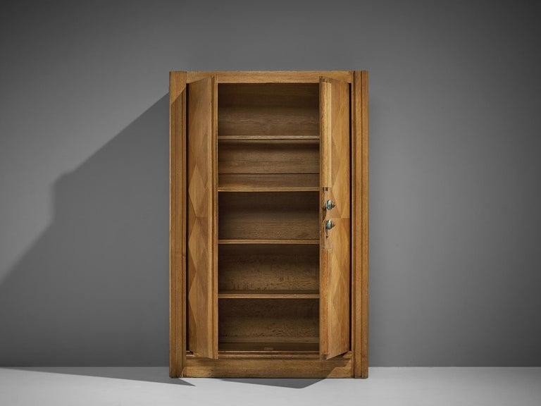 Brass Guillerme et Chambron Cabinet in Oak For Sale