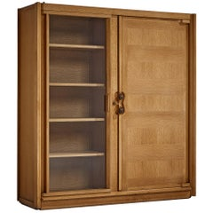 Guillerme et Chambron Cabinet in Oak with Glass Door