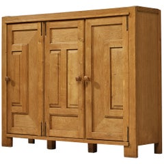 Guillerme et Chambron Cabinet in Oak with Graphical Doors