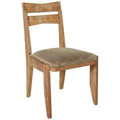 Guillerme et Chambron Cerused Desk Chair, Velvet, Midcentury, France, 1950s