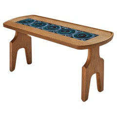 Guillerme et Chambron Coffee Table in Oak with Ceramic Inlay