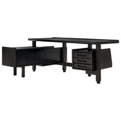 Guillerme et Chambron Corner Desk in Black Stained Oak