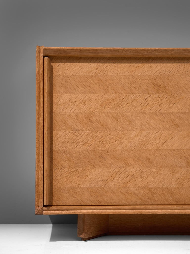 Mid-20th Century Guillerme et Chambron Credenza in Oak with Sliding Doors For Sale