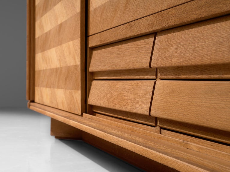 Guillerme et Chambron Credenza in Oak with Sliding Doors For Sale 1