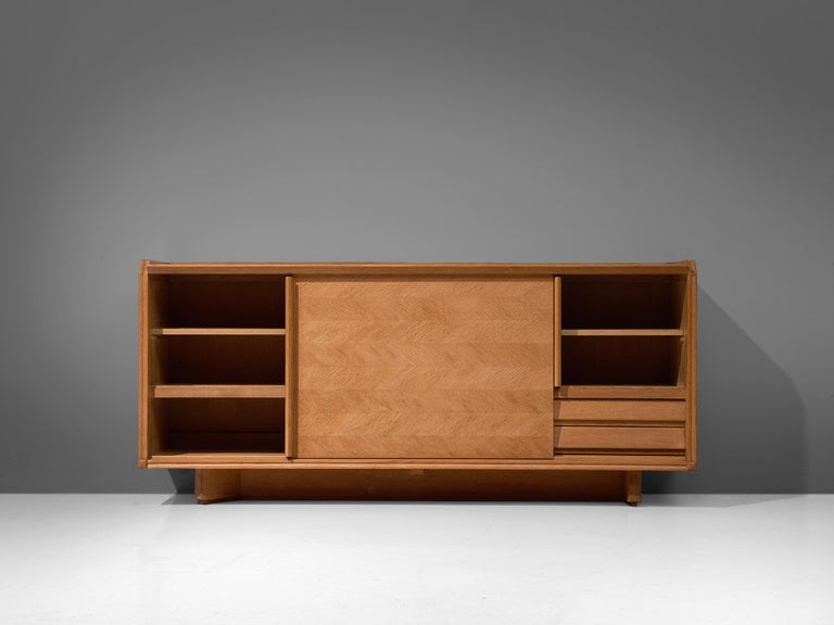 Guillerme et Chambron Credenza in Oak with Sliding Doors For Sale 3
