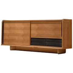 Guillerme et Chambron Credenza in Oak with Sliding Doors