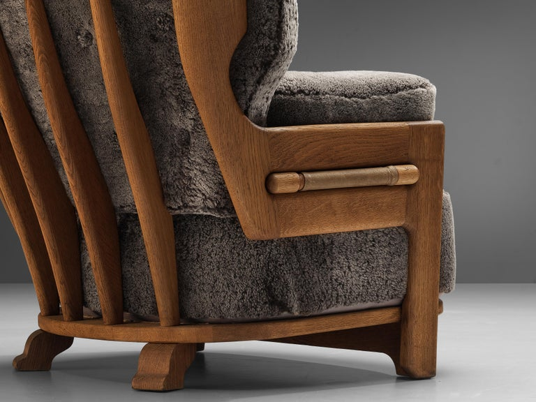 Mid-Century Modern Guillerme et Chambron Customizable 'Denis' Lounge Chair in Oak For Sale