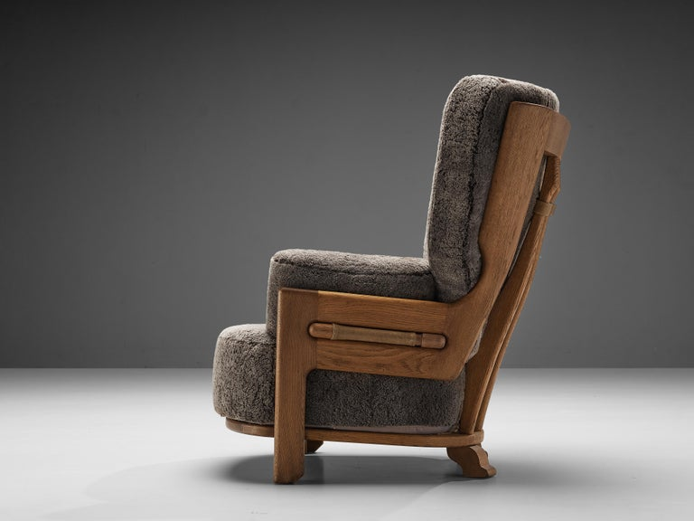 French Guillerme et Chambron Customizable 'Denis' Lounge Chair in Oak For Sale