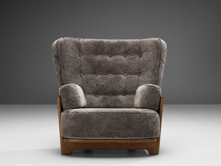 Mid-20th Century Guillerme et Chambron Customizable 'Denis' Lounge Chair in Oak For Sale
