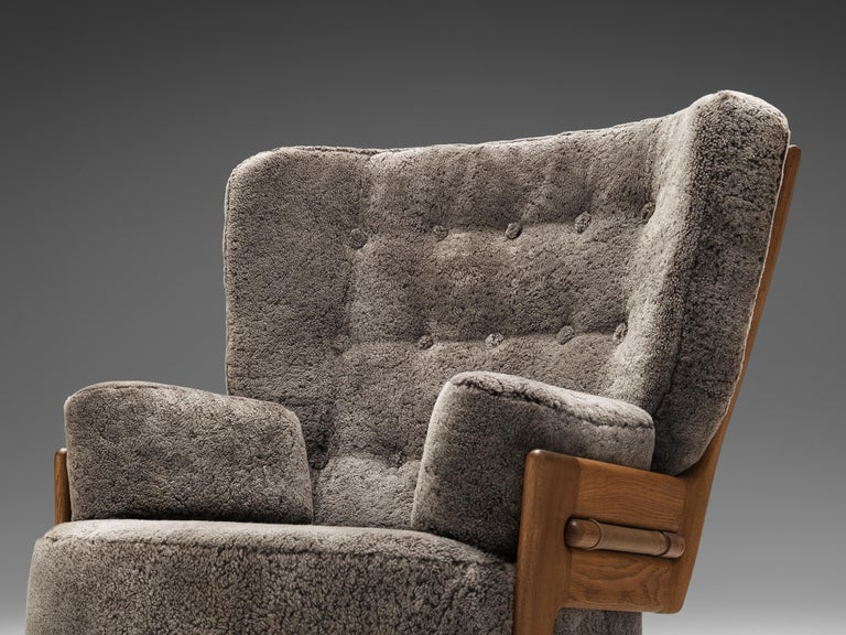 Fabric Guillerme et Chambron Customizable 'Denis' Lounge Chair in Oak For Sale