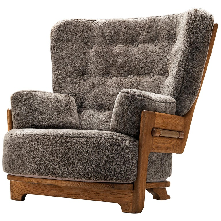 Guillerme et Chambron Customizable 'Denis' Lounge Chair in Oak For Sale