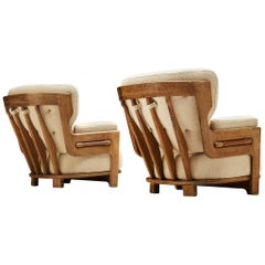 Guillerme et Chambron Customizable Pair of 'Denis' Lounge Chairs in Oak